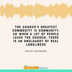 It's how we grow, mature, process, learn, thrive.  When community is threatened or when the community starts to drift apart, it often leads people hurt and broken.   People who leave the Church often have to leave behind their only community they've ever known.  #TheRecklessPursuit #TRPpodcast #podcast #christianpodcast #personaldevelopment #selfhelp #church #spotify #faithpodcast #podcasts #SpotifyOriginals #educational #nakedpastor #thenakedpastor #comicstrip