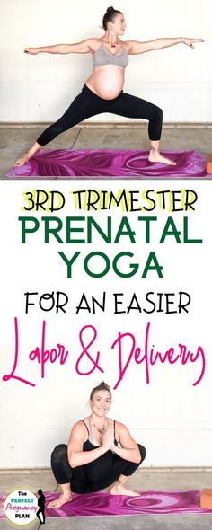 Pregnancy Workout Learn the perfect prenatal yoga routine for the third trimester to ease back pain, prepare for labor and delivery, and easier childbirth! These prenatal workout poses can help allevi 3rd Trimester Pregnancy, Third Trimester Workout, Pregnancy Labor, Pregnancy Workout, Pregnancy Yoga Poses, Pregnancy Nausea, Maternity Yoga, Pregnancy Back Pain, Pregnancy Videos