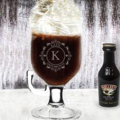 Engraved Irish Coffee Glass & Baileys - Decorative Initial