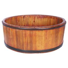 HOME DECOR – RUSTIC STYLE – Wood basin with iron banding.  Product: BasinConstruction Material: Wood and ironColor: Natural