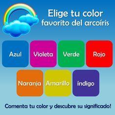 TEST DEL ARCOIRIS  ¿Sabías que tu color favorito del arcoíris refleja aspectos importantes de tu personalidad?  Mira los colores, elige inmediatamente el que más te guste y a continuación encuentra su significado!