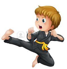 Illustration of Illustration of a brave girl doing karate on a white background vector art, clipart and stock vectors. Karate Boy, Karate Moves, Taekwondo Moves, Judo, Theme Sport, Ju Jitsu, School Clipart, Brave Girl, Cute Clipart