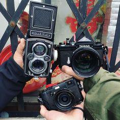 Camera Fight. #chinatownthree #x100t #rolleiflex #nikonf #fujifilm #analog #believeinfilm @glasskeyphoto #twitter