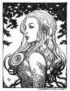 "adigranovart: "" Poison Ivy - Ink on paper "" *"