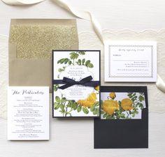 Yellow Garden Rose Vintage Floral Wedding Invitations | Beacon Lane