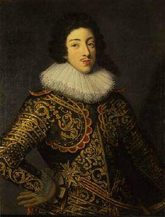 Louis XIII,Frans Pourbus the younger (1620) Людовик XIII-автор куртуаз. песен и многоголосных псалмов; музыка его также звучала в знам. «Мерлезонском балете»(1635), для кот.он сочинил танцы («Simphonies»), придумал костюмы,и в кот.сам исп. неск.ролей.Мерлезо́нский балет (часто также Марлезо́нский балет,от фр.Le ballet de la Merlaison,букв. «Балет дроздования»,то есть «Балет об охоте на дроздов»)-балет в 16 актах,поставл.королем Фр. Людовиком XIII.