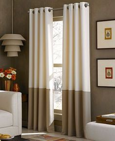 A lovely color-blocked design in soft neutrals creates a sleek, modern update for any space with the Kendall window panel. A grommeted header enhances the look with a casual draping effect. | Polyeste Brown Curtains, Lined Curtains, Grommet Curtains, Window Curtains, Drapery Rods, Color Shades, Window Panels, Brown And Grey, Chocolate Brown
