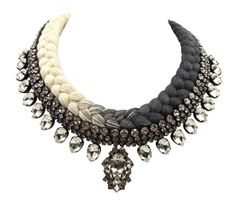Maldives necklace dip-dyed charcoal and cream - Jolita Jewellery