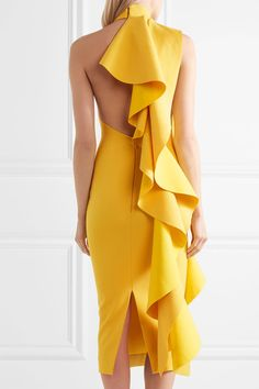 Solace London | Amelle open-back ruffled crepe midi dress | NET-A-PORTER.COM