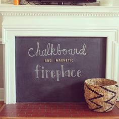 Got a fireplace? Add that to your baby proofing checklist with this fun DIY chalkboard (and magnetic! Fireplace Cover Up, Paint Fireplace, Baby Proof Fireplace, Fireplace Guard, Basement Fireplace, Fireplace Mantel, Magnetic Chalkboard, Chalkboard Baby, Baby Gates
