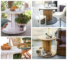 great wooden cable spool table ideas and get inspired for. Wooden Spool Tables, Cable Spool Tables, Wooden Cable Spools, Wood Spool, Upcycled Furniture, Pallet Furniture, Outdoor Furniture Sets, Outdoor Decor, Furniture Ideas
