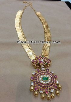 Long Kasu Mala with Two Step Ruby Pendant - Jewellery Designs