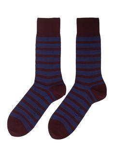 Falke 'even Stripe' Intarsia Socks In Multi-colour Hiking Socks, Running Socks, Falke Socks, Burgundy, Stripes, Pairs, Mens Fashion, Colour, Casual