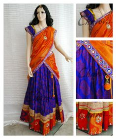Ethnic Indian attire of Long skirt and blouse with | Long skirt made of blue dhupion silk with brocade and stone works on border with matching blouse. Orange color Half saree drape with bright borders and stone work allover. | Charvi Art Studio - woodbridge, NJ