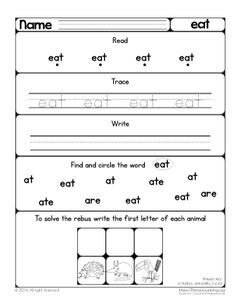 with this at word family worksheet kindergarten kids review five words cat rat sat mat and. Black Bedroom Furniture Sets. Home Design Ideas