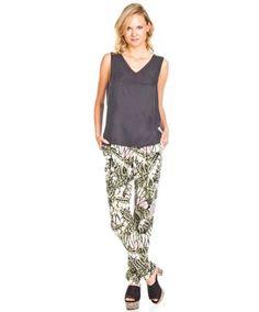 Pantalones Vila Clothes Vibutterflies Verde en Nice & Crazy