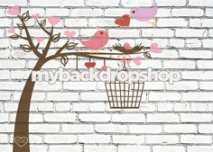 7ft x 5ft  Lovebirds in Tree with Birdcage by MyBackdropShop, $68.99