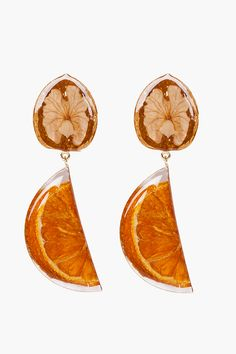 KENZO - WALNUT ORANGE RESIN EARRINGS 22387F084002 Brass earrings in gold tone. Preserved walnut and orange slice in resin. Logo stamp at top of orange accent. Pinch clasp closure. Dimple effect at back of earrings. Approx. 4'' length. Part of the delfina delettrez for KENZO collaboration collection. 60% brass, 20% resin, 10% orange, 10% walnut. Made in Italy. $510.00 USD $357.00 USD You Save 30% Sold Out