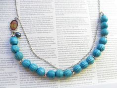 Blue and silver wish necklace with blue pearl by KrysthleDesigns