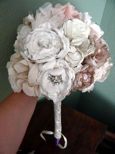 this girl made her own. See link on wedding bee for links to tutorials. Fabric Flower Bouquet :  wedding bouquet diy flowers Bouquet 3