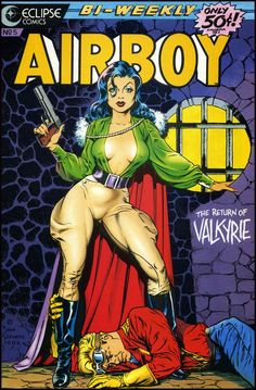 """cooketimm: Valkyrie by Bruce Timm + Fred Kida Dave Stevens Brian Bolland Joe Chiodo Valkyrie is the codename of Liselotte von Schellendorf, the main rival and love interest of Airboy. She first appeared in """"Air Fighers Com Book Cover Art, Comic Book Covers, Book Cover Design, Comic Book Artists, Comic Artist, Comic Books Art, Long John Silver, Frank Zappa, Dave Stevens"""