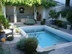 This Mediterranean style garden is a beautiful setting for the Endless Pool.