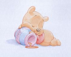 Baby Pooh Watercolor Image..........so very cute!!