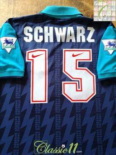 678cae6e0 1994 95 Arsenal Away Premier League Football Shirt Schwarz  15 (XL)