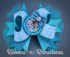 FROZEN Hair Bow layered boutique hair bow por RnRshairbowsandmore