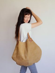 Mustard Leather Bag   Soft Leather Bag  Brown di LadyBirdesign