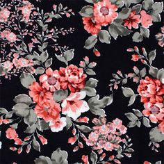 Pinky Grey Flowers on Black Ponte de Roma Knit Fabric - Amazing floral print!  Lovely colors of pink and grey flowers and floral vines on a black background Ponte De Roma knit.  Ponte de Roma fabric is a thicker medium weight and has a nice stretch, excellent drape, and great recovery.   Fabric has a subtle horizontal texture.  Largest flower measures 6cm (see image for scale).  Amazing designer fabric great for maxi skirts, dresses, tops, and more!�  ::  £9.95