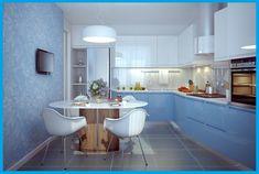Картинки по запросу синие обои на кухне