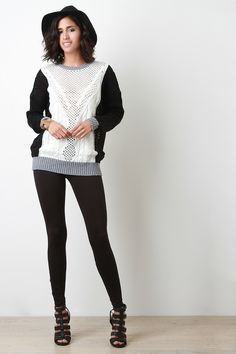 Eyelet Knit Sculpture Sweater