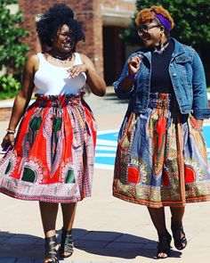 Crowned by our curls!!!  .      Skirts: Queen's Legacy and Mediterranean Nights  Purchased from: Etsy.com/shop/alohaglamourcouture