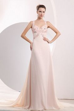 Pink Chiffon Straps Party Gowns - Order Link: http://www.theweddingdresses.com/pink-chiffon-straps-party-gowns-twdn2039.html - Embellishments: Beading , Sequin; Length: Floor Length; Fabric: Chiffon; Waist: Natural - Price: 141.08USD