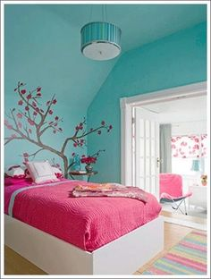 This is the paint color pallette for my girls bedroom I want to decorate for them for Christmas: Aqua and Pink, and Im also planning on painting a tree on their wall! kids-life