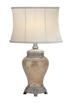 """Polished Stone Long Lasting 30"""" Mosaic Table Lamp in White Shade"""
