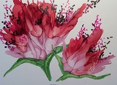 FUSHIA MUMS II by Donna PierceClark ALCOHOL INK ~ 5 inches x 7 inches