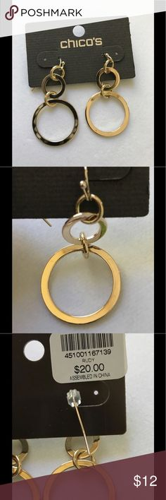"""Chico's gold color earrings Brand new! 1.5"""" long. Too big for my tiny ears....  Re-posher from @datcatbrat closet—- check it out, she has awesome stuff!!! Chico's Jewelry Earrings"""