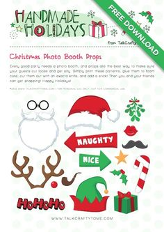 "Christmas Photo Booth Props (Santa beard & hat, reindeer antlers & red nose, elf hat, mistletoe, candy cane, holly, present, HoHoHo, star, ""Naughty or Nice"" signs, pipe, mustache & red lips)"