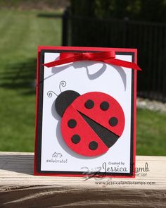 punch art Ladybug party invitation by Jessica Lamb Stamps