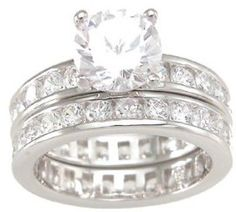 Smart Round Solitaire Ring Pave Set With Cubic Zirconia Stones And Rhodium Plated Cheap Sales 50% Engagement & Wedding Jewelry & Watches