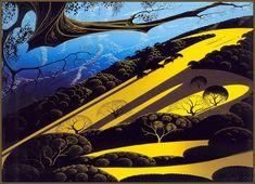 landscape by mid-cent graphic artist Eyvind Earle.  link between Klimt and Tartakovsky...