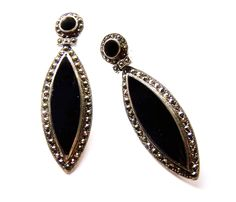 Magnificent ART DECO Style Dangle Earrings -  Sterling Silver, Black Onyx & Marcasite - Featured   in 3 Treasury Lists - Free U.S. Shipping. $95.00, via Etsy.