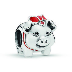 PANDORA Charm Piggy Bank Sterling Silver Mens Silver Necklace, Silver Hoop Earrings, Silver Charms, Sterling Silver Bracelets, Pot Belly Pigs, Mini Pig, Silver Cleaning Cloth, Chains For Men, Lucky Charm