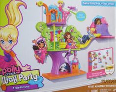 """Polly Pocket WALL PARTY TREEHOUSE Playset TREE HOUSE w POLLY DOLL, Cat & More! (2012) by Mattel. $68.99. Box approx. 13"""" x 10.5"""" x 3"""". For Box Condition see CONDITION NOTE or Email Seller for Details.. INCLUDES: Polly Pocket Doll approx. 3-3/4"""" tall, Kitty Cat, Tree House with Slide, Basket Lift Swing on a Pulley, Trap Door to hide Polly Doll or Kitty, Look-Out with """"Telescope"""", 2 Sleeping Bags, & More, 3M Command Attachment Strips for Damage FREE Hanging on wall, ..."""