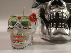 Vanilla Soy Candle in a Hand Painted Skull by MuttiArtography, $20.99