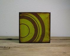 Green Circles Retro Atomic Abstract Art Block by MatchBlox on Etsy, $29.00