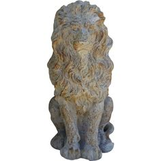 Create an eye-catching  focal point in your foyer or study with this magnesia statuette, featuring a lion design and weathered details. ...