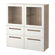 BESTÅ Opbergcombinatie met glazen deuren - grijs gelazuurd walnootpatroon/Marviken wit helder glas, laderail, zachtsluitend - IKEA